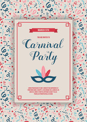 Layout of Carnaval Party invitation with colorful background with confetti. Vector