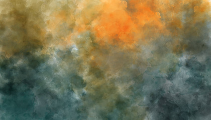 Dark blue and orange abstract watercolor background