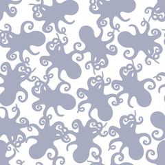 Seamless pattern with violet silhouettes of octopus simple on white. Funny endless cute marine texture for fabric, clothes and paper goods for kids. Textile design.