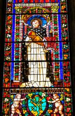 Saint Thomas Aquinas Stained Glass Santa Maria Novella Florence Italy