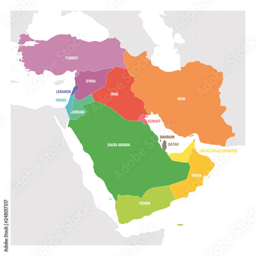 West Asia Region. Colorful map of countries in western Asia or ...