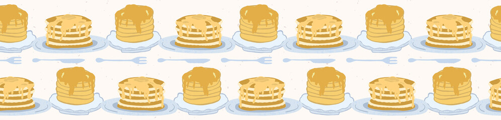 Cute vector homemade pancake day breakfast illustration. Seamless repeating border. Hand drawn stack of delicious pancakes with maple syrup, kawaii knife and fork. Food restaurant menu banner ribbon.