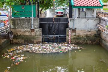 polluted Chao Phraya river, Bangkok, Thailand, Asia