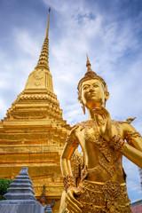 Foto auf Gartenposter Bangkok Kinnara golden statue, Grand Palace, Bangkok, Thailand