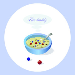 Simple illustration of plate with  healthy food. Vectorial