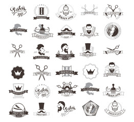 Set of vintage barbershop emblems, labels, badges, logos. Collection of hand drawn barbershop tools and accessories with hipster model man.