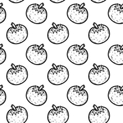 Handdrawn seamless pattern a tomato doodle icon. Hand drawn black sketch. Sign symbol. Decoration element. White background. Isolated. Flat design. Vector illustration