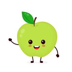 Happy smilling cute apple. Vector