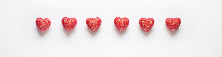 Hearts on white background.