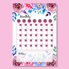 beautiful watercolor flower monthly planner