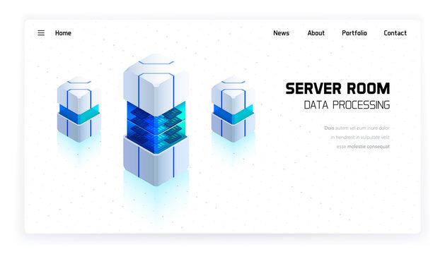 Server room vector isometric illustration, big data processing, futuristic technology