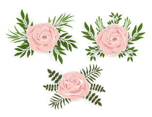 Flower set of pink roses and leaves. Floral design elements for poster, invite, greeting cards. Vector illustration.