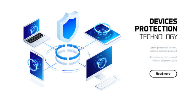 Website security system, device protection technology, futuristic holographic 3d isometric vector illustration