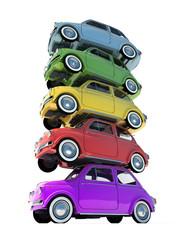 Colorful retro compact car pile