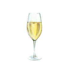 champagne glass watercolor illustration, isolated on white background