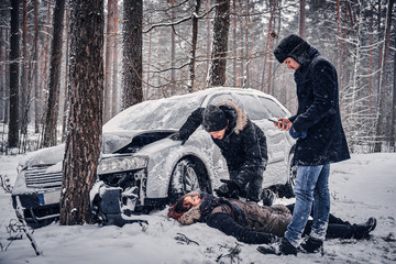 Car accident occurred in the winter forest