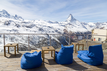 Ski resort bar with Matterhorn view