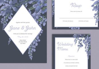 Wedding Suite Layout with Purple Floral Elements
