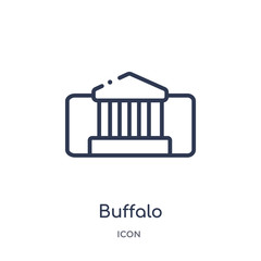 buffalo icon from museum outline collection. Thin line buffalo icon isolated on white background.