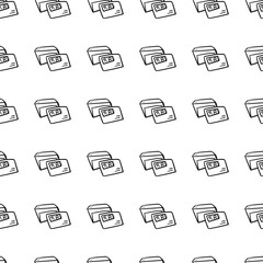 Beautiful hand drawn fashion seamless pattern envelope icon. Hand drawn black sketch. Sign / symbol / doodle. Isolated on white background. Flat design. Vector illustration