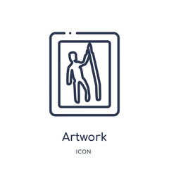 artwork icon from museum outline collection. Thin line artwork icon isolated on white background.
