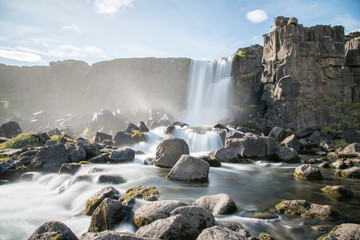 Öxarárfoss Waterfall in Þingvellir National Park, Reykjanes Peninsula, Iceland