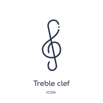 treble clef icon from music and media outline collection. Thin line treble clef icon isolated on white background.