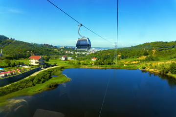 View of the Dajti Express cable car and lake in Tirana, Albania.