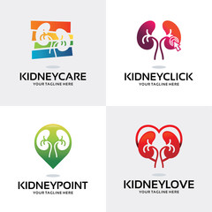 Kidney Logo Set Design Template Collection