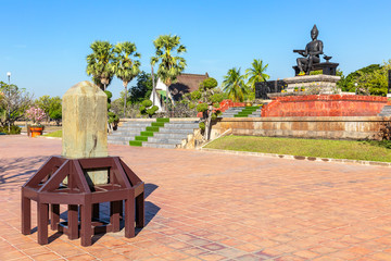 replica of Sukhothai Inscription No. 1 and King Ramkhamhaeng Monument in the Historical Park of Sukhothai, Thailand, Asia