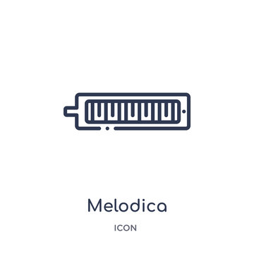 melodica icon from music outline collection. Thin line melodica icon isolated on white background.