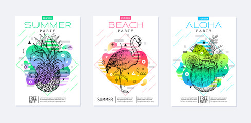 Rainbow geometric style. Disco light fluid art. Memphis prism summer poster set. Amoeba trendy background. Realistic tropic pineapple, flamingo, coconut drink for t-shirt print, music banner on white Fototapete