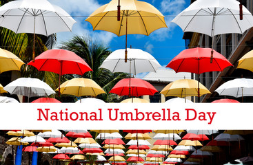 National Umbrella Day stock images. Colorful umbrellas on a street. The Floating Umbrellas. February 10, National Umbrella Day