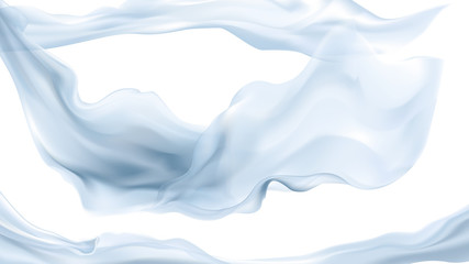Soft blue translucent fabric floating on transparent background, vector illustration. Wall mural