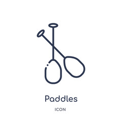 paddles icon from nautical outline collection. Thin line paddles icon isolated on white background.