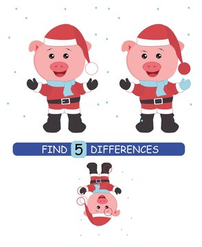 Find differences between pictures. Vector cartoon educational game. Cute pig in Santa hat.
