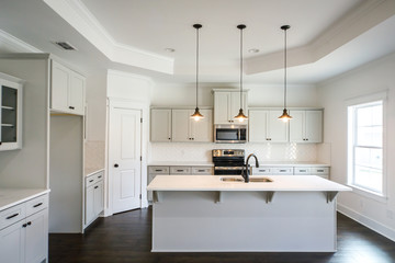 Modern new Construction White Kitchen Grey cabinets
