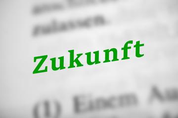 Zukunft - Text mit grünen Buchstaben