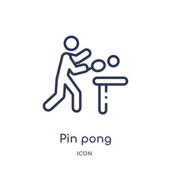 pin pong icon from olympic games outline collection. Thin line pin pong icon isolated on white background.