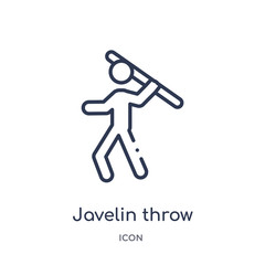 javelin throw icon from olympic games outline collection. Thin line javelin throw icon isolated on white background.