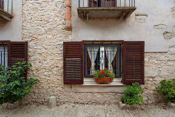 Erice, Sicily, Italy - typical window in the old town