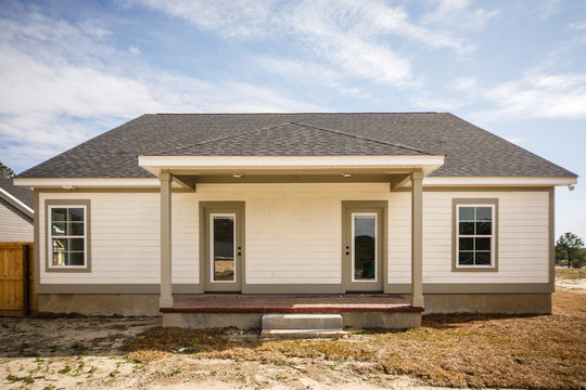 Modern new Construction Back Porch with Two Glass Doors