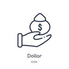 dollar icon from payment outline collection. Thin line dollar icon isolated on white background.