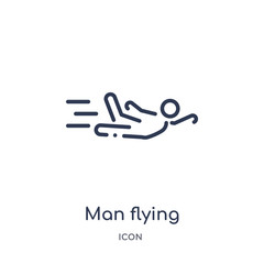 man flying icon from people outline collection. Thin line man flying icon isolated on white background.