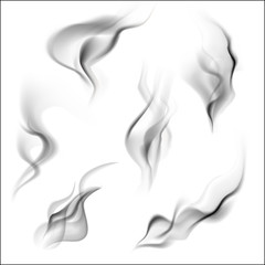 Smoke isolated on white background. Vector illustration.