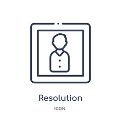 resolution icon from photography outline collection. Thin line resolution icon isolated on white background.