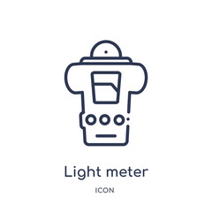 light meter icon from photography outline collection. Thin line light meter icon isolated on white background.