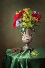 Still life with splendid bouquet of flowers