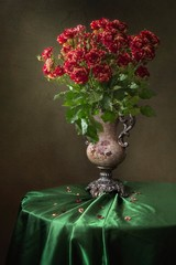 Still life with splendid bouquet of roses