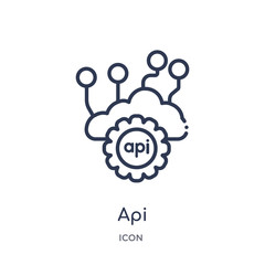 api icon from programming outline collection. Thin line api icon isolated on white background.